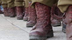 Army soldiers with paratrooper jump boots Stock Footage