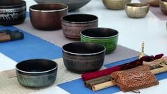 Tibetan bowls Stock Footage