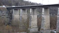 Novoplanovskiy bridge in Kamianets-Podilskyi city, western Ukraine Stock Footage