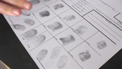 Taking fingerprints criminal prison Stock Footage
