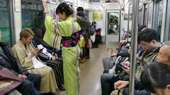 Travelers And Commuters On Local Train In Kyoto Japan Asia Stock Footage