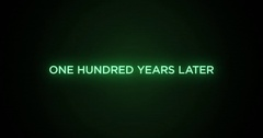 Glitchy Futuristic Action Movie Credit Text   One Hundred Years Later Stock Footage