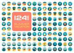 Summer icon set. Summertime. Vacation Stock Illustration