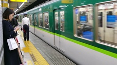 Underground Railway Station Train And People In Kyoto Japan Asia Stock Footage
