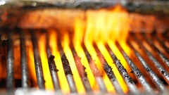 Plate after frying. A dirty grill in the kitchen at the restaurant Stock Footage