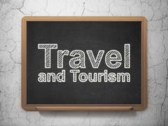 Travel concept: Travel And Tourism on chalkboard background Stock Illustration
