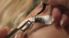 Woman Eye with Long Eyelashes. Eyelash Extension. Lashes, close up, selected Stock Footage