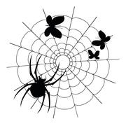 Vector black spider, butterflies and web silhouette Stock Illustration