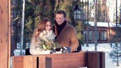 Beautiful couple in winter on Valentine's Day Stock Footage