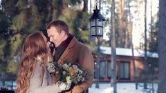 Happy couple on Valentine's Day, a girl with a bouquet of flowers Stock Footage