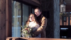 Happy couple celebrates Valentine's Day in the cottage Stock Footage