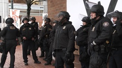 Police Officers In Riot Gear Stock Footage