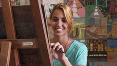 Pretty Girl Smiling At Camera Female Student At Art School Stock Footage