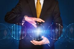 Businessman holding DNA Stock Photos