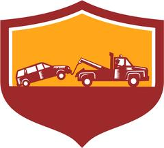 Tow Truck Towing Car Shield Retro Stock Illustration
