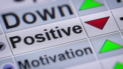 """""""Positive"""" on the screen. Looping. Stock Footage"""