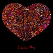 Hand drawn heart with colorful pattern Stock Illustration