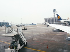 Frankfurt Airport busy day Ground support equipment being used Stock Footage