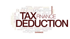 Tax deduction animated word cloud, text animation. Kinetic typography. Stock Footage
