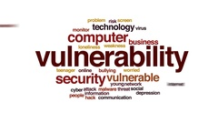 Vulnerability animated word cloud, text design animation. Stock Footage
