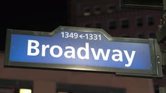 CLOSE UP: Blue Broadway road sign with numbers at street corner in New York Stock Footage