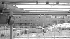 Black and white view Arrival in Lyon Part Dieu train station Stock Footage