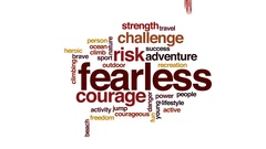 Fearless animated word cloud, text design animation. Stock Footage