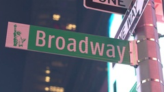 CLOSE UP: City signage & Broadway street sign mounted on a pole at Times Square Stock Footage