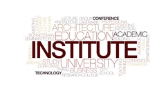 Institute animated word cloud, text design animation. Kinetic typography. Stock Footage