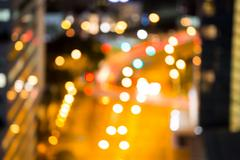 Bokeh of busy city street Stock Photos