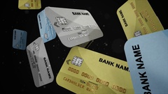 Credit cards falling down in slow motion. Stock Footage