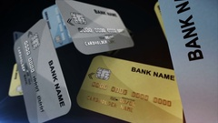 Credit cards hang in the air Stock Footage