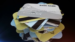 A pile of credit cards rotates Stock Footage