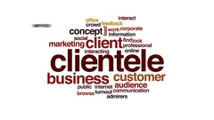 Clientele animated word cloud, text design animation. Stock Footage