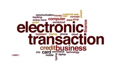 Electronic transaction animated word cloud, text design animation. Stock Footage