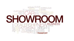 Showroom animated word cloud, text design animation. Kinetic typography. Stock Footage