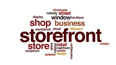 Storefront animated word cloud, text design animation. Stock Footage