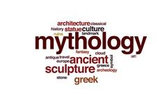 Mythology animated word cloud, text design animation. Stock Footage