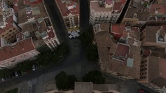 Serranos Towers and Valencia cityscape, aerial shot Stock Footage