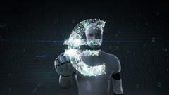 Robot cyborg touched screen, Numerous dots gather to create a Euro sign Stock Footage