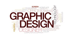 Graphic design animated word cloud, text animation. Kinetic typography. Stock Footage