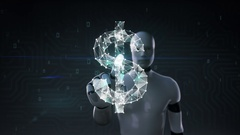 Robot cyborg touched screen, Numerous dots gather to create a Dollar sign Stock Footage