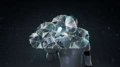 Robot cyborg touched screen, Numerous dots gather to create a Cloud sign Stock Footage