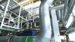 Heat power station. Panorama of the interior of russian thermal power plant. 4K Stock Footage