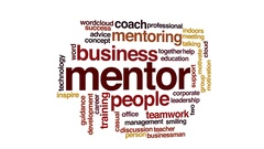 Mentor animated word cloud, text design animation. Stock Footage