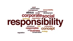 Responsibility animated word cloud, text design animation. Stock Footage
