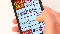 Top Banks in the World on smartphone screen Stock Footage