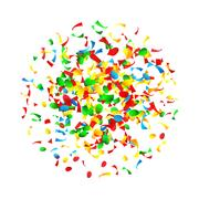 Confetti Falling Vector. Bright Explosion Isolated On White. Background For Piirros