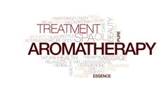 Aromatherapy animated word cloud, text design animation. Kinetic typography. Stock Footage