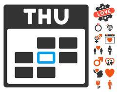 Thursday Calendar Grid Icon with Lovely Bonus Stock Illustration